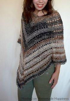 Desert Life Poncho - Uses Lion-brand Shawl In A Ball. Crochet Poncho Patterns, Shawl Patterns, Crochet Patterns For Beginners, Crochet Shawl, Free Crochet, Knit Crochet, Crochet Blouse, Crochet Vests, Crochet Cape