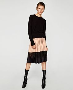 ZARA - WOMAN - TWO-TONE PLEATED SKIRT