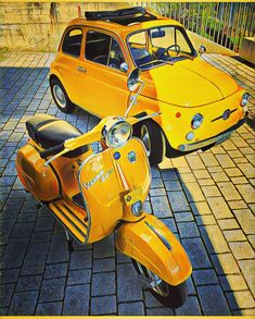 Stats show that you loved this week's pic of those gorgeous yellow So to celebrate this weekend. Fiat 500, Piaggio Vespa, Vespa Scooters, Weird Cars, Cool Cars, 4 Day Weekend, Fantasy Art Landscapes, Fiat Abarth, Audi A5