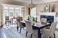 Pelham Renovation Contemporary Dining Room   Dark With Grey