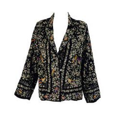 1920s Canton black silk embroidered evening jacket