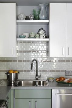 sarah richardson sarah 101 green kitchen sink subway tile