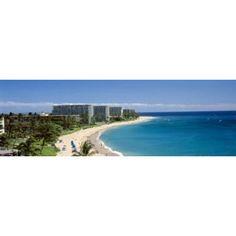 Hotels on the beach Kaanapali Beach Maui Hawaii USA Canvas Art - Panoramic Images (36 x 12)