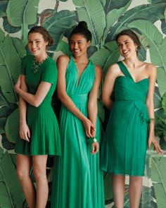 Green bridesmaids' dresses. Via Inweddingdress.com #bridesmaiddresses  Love love love the one on the right!!