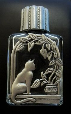 Cat perfume bottle, vintage Jonette pewter and glass
