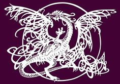 The Tangle Dragon paper cut Fine Art print £25.00