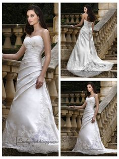Strapless Sweetheart Slim A-line Pleated Bodice Lace Appliques Wedding Dresses