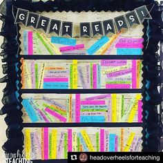 I love this bulletin board from @headoverheelsforteaching!!! She writes every read aloud on each spine!