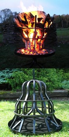 Grate Wall of Fire Tall Fire Pit | No need to handle burning logs. This fire pit is self-feeding!