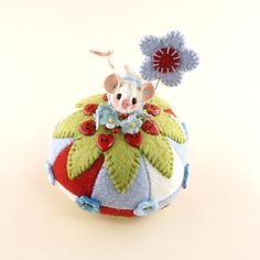 OOAK  2015 Janie Comito Miniature~Valentine Sweetheart  Mouse  Pin Cushion & Pin #ValentineFloral