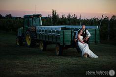 Sunset wedding portrait – Alyson's Orchard, NH | Steve Holmes Photography