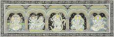Goddess Gayatri with Shiva Parvati, Radha Krishna, Lakshmi Ji and Goddess Saraswati