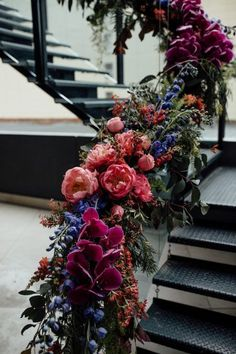 15 Wedding Staircase Decor Ideas for an Ultra Glamorous Affair Wedding Staircase Decor – Free the Bird Photography Floral Wedding, Fall Wedding, Wedding Bouquets, Wedding Flowers, Dream Wedding, Wedding Season, Jewel Tone Wedding, Flower Bouquets, Wedding Colors