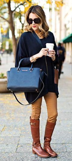 #winter #fashion //  Navy Jacket // Black Top // Camel Pants // Brown Leather Riding Boots // Black Leather Tote