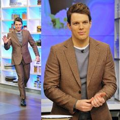 Spotted: Actor Jake Lacy on ABC's The Chew in our techno tweed suit from our Fall 2016 runway collection.