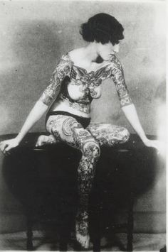 vintage everyday: 39 Gorgeous Vintage Photos of Tattooed Ladies in the Late 19th and Early 20th Centuries   Tattooed lady from Victorian era