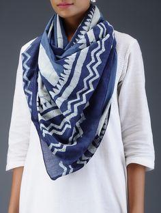 Buy Indigo White Dabu Printed Cotton Stole Scarves & Stoles Online at Jaypore.com