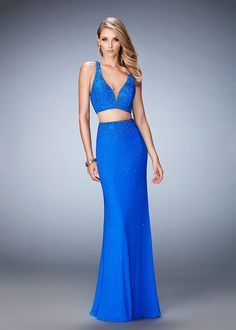 La Femme 22368 Jazzy Beaded Criss Cross Back Two Piece Prom Gown