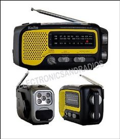 KA350 Yellow - Digital AM FM Emergency Solar Dynamo Crank USB Radio / Flashlight (Kaito) by ER-RADIO. $29.99. The KAITO KA350 Solar powered small size handheld multifunction radio is perfect for emergency use indoor or outdoor. The unique battery compartment for 3 AAA for regular battery and a built-in rechargeable battery pack. So, you have 6 power sources to use this radio for any emergency situations. The power sources are Cranking power, solar power, regular battery ...