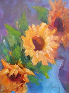Still Life Artists International: Sunflower Oil Painting, Daily Painting Small Oil Painting, Oil SOLD Sunflower Vase, Sunflower Paintings, Vango Art, Still Life Artists, Daily Painters, Complimentary Colors, Impressionist Art, Selling Art, Dog Art