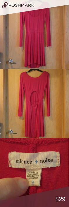 Silence + Noise Red Long Sleeve Cutout Back Dress Silence and Noise dress from Urban Outfitters, size small, in excellent condition! This vibrant red dress is simple and casual but definitely a statement! Fabric is light and stretchy. Features elastic waist, scoop neck, and cutout circle at lower back. Please ask any questions. No trades. Make a reasonable offer. Thanks! Urban Outfitters Dresses Mini