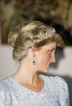 Princess Diana in a rare picture of her hair pinned up.