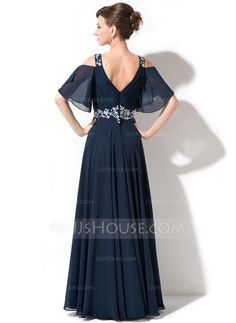 A-Line/Princess Scoop Neck Floor-Length Chiffon Mother of the Bride Dress With Lace Beading Sequins Cascading Ruffles (008054984) - JJsHouse