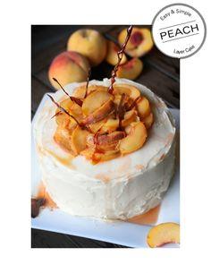 Pretty Peach Layer Cake... cream cheese frosting, burnt sugar shards and fresh peaches!
