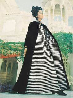 Vintage Vogue Tuesday #2Every Tuesday Romantics in Razzle-Dazzle Runaround Stripes, Vogue Australia March 1968.On location at the Lake Palace, Udaipur, Rajasthan.  Norma Tullo
