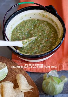 Roasted Tomatillo and Green Olive Salsa | foodiecrush.com #mexican #recipe