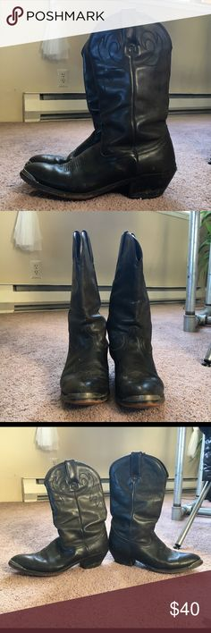 "Durango Women's Black Leather Western boot Timeless black leather western boots by Durango. Minimal wear; in excellent condition! Very sturdy, 2"" heal, leather upper and leather shaft lining. Super comfortable! Durango Shoes Heeled Boots"