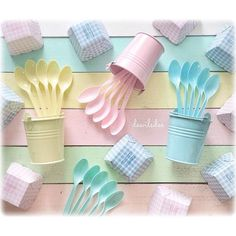 quenalbertini: Pastels spoons kitchen Vintage shabby chic home decor Pastel unicorn color pink blue light violet green mint beautiful colorful kawaii things objects cute orange yellow Soft Colors, Pastel Colors, Colours, Palette Pastel, Deco Pastel, Fiestas Party, Photo Deco, Pastel Party, Décor Antique
