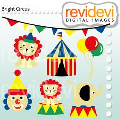 Bright Circus - cute clipart for scrapbooking those circus memories or for your craft and creative projects.