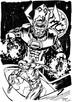 Galactus & Silver Surfer by Dave Stokes