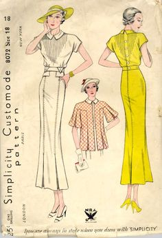 Sewing Vintage pattern for a dress with a tucked bodice. The loose jacket looks like maternity fashion from this decade. - A slim afternoon dress with tucked bodice and stitched-down pleats. The loose jacket looks very much like maternity fashion. 1930s Fashion, Moda Fashion, Retro Fashion, Vintage Fashion, Fashion Wear, Victorian Fashion, Fashion Fashion, Fashion Tips, Moda Vintage