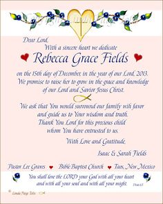 Baby Girl Dedication Gift   Christian Letter Of Promise   Love The Lord A  Precious Personalized