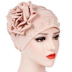 FA Fashion Big Flower Glitter Turban Hat Muslim Cap Women Head Wrap Headwear Ne