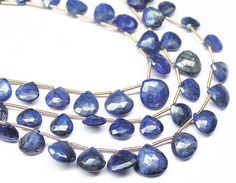 Natural Blue Sapphire Faceted Heart Drop Beads Strand, – Jewels Exports