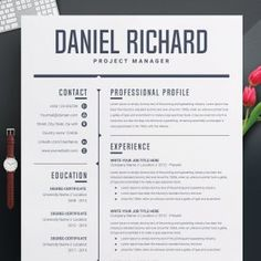 Resume Template 3 Page CV Template Cover Letter / Instant | Etsy Modern Resume Template, Resume Template Free, Microsoft Word, Illustrator, Free Resume Examples, Create A Resume, Job Employment, Resume Words, Photoshop