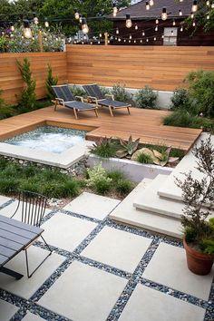 Outdoor Jacuzzi and outdoor spa 100 ideas for landscaping Small Backyard Landscaping, Backyard Garden Design, Modern Backyard, Backyard Fences, Modern Landscaping, Patio Design, Landscaping Design, Backyard Ideas, Patio Ideas