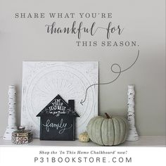 Are you searching for ways to create an attitude of gratitude in your family this holiday season? We want to help you pause and truly give thanks during the business of the season. Hang this chalkboard in a place where everyone will see it and help encourage your family to share what they're most thankful for! Start the tradition of thankfulness in your home. Order yours in our store today: ---> http://www.p31bookstore.com/…/produ…/in-this-home-chalkboard