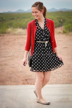 Polka dot dress and red cardigan. <3