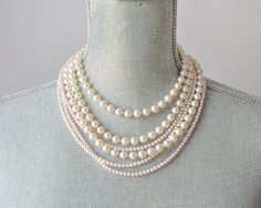 Layered Bridal Necklace Multi Strand Wedding by SarahWalshBridal