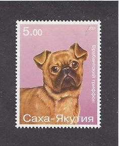 Dog-Art-Postage-Stamp-BRUSSELS-GRIFFON-BRUXELLOIS-BRABANCON-Sasha-Yakutia-MNH