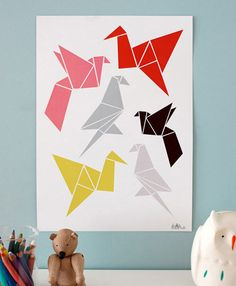 has never looked better Origami poster- fresh take on birds for nursery art.Origami poster- fresh take on birds for nursery art. Bird Poster, Origami Crane, Paper Crane, Illustrations Posters, Geometric Animals, Poster Prints, Screen Printing, Origami Art, Prints