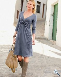 Empire waist wrap dress and pretty boots