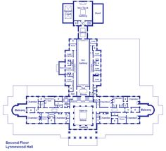 Lynnewood Hall 2nd floor Plan. The design of this floor makes more sense to me. I wonder if the desire for multiple bedroom suites in two private zones of the main block actually drove the design, resulting in the strange ground floor arrangements below. The guest rooms enjoyed privacy, too, on either side of the gallery. JC