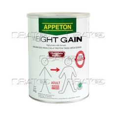 APPETON WEIGHT GAIN DEWASA 900G  Komposisi: Protein 30 g, fat 10 g, carbohydrate 52 g (including fibre 5.6 g), ash 5 g, moisture 3 g, lysine 2.76 g, vit A 3,000 IU, vit B1 0.8 mg, vit B2 0.8 mg, vit B6 1 mg, vit B12 3.5 mcg, vit C 45 mg, vit D 300 iu, vit E 10 IU, niacin 8 mg, pantothenic acid 5 mg, folic acid 300 mcg, biotin 50 mcg, choline 50 mg, Na 660 mg, K 650 mg, Ca 1,500 mg, Cl 1,000 mg, Fe 8 mg, phosphorus 650 mg, Mg 100 mg, Zn 5.5 mg, copper 550  Pabrik: Kotra Farma