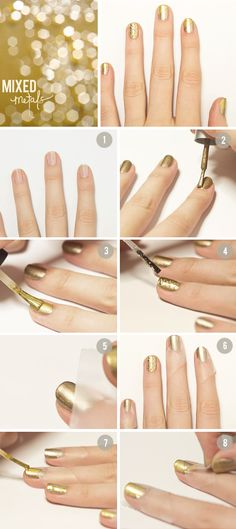 mixed metal finger nails - gold with silver glitter