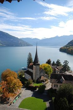 Lake Thun panorama from Spiez Castle, Switzerland...